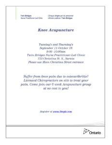 Knee Acupuncture @ Twin Bridges NPLC | Sarnia | Ontario | Canada