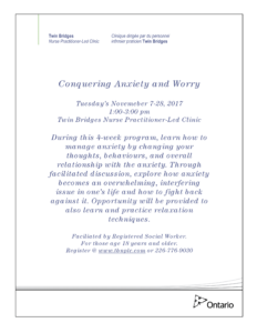 Conquering Anxiety and Worry @ Twin Bridges NPLC | Sarnia | Ontario | Canada