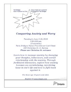 Conquering Anxiety and Worry @ TBNPLC | Sarnia | Ontario | Canada