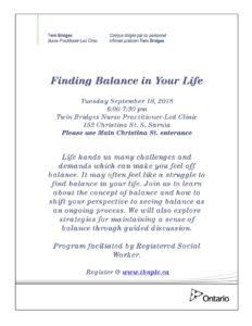 Finding Balance in Your Life @ Twin Bridges NPLC | Sarnia | Ontario | Canada