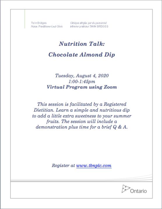Nutrition Talk: Chocolate Almond Dip