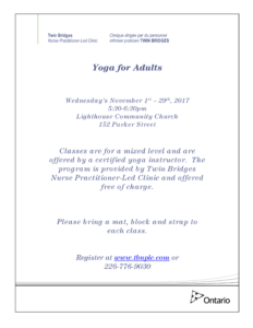 Yoga for Adults- CLASS IS FULL @ Lighthouse Community Church | Sarnia | Ontario | Canada