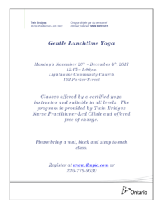 Gentle Lunchtime Yoga @ Lighthouse Community Church | Sarnia | Ontario | Canada