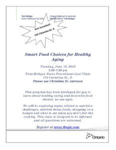 Smart Food Choices for Healthy Aging @ TBNPLC | Sarnia | Ontario | Canada