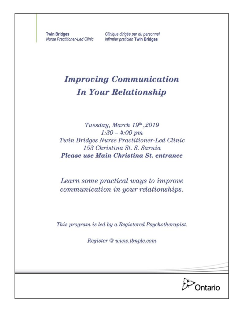 Improving Communication in Your Relationship @ Twin Bridges NPLC