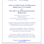 The ABC's of Making Homemade Baby Food- This class is full @ Sarnia | Ontario | Canada
