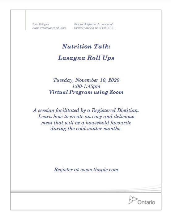 Nutrition Talk: Lasagna Roll-Ups