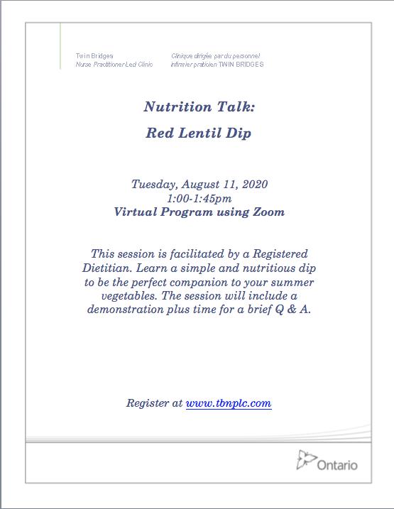 Nutrition Talk: Red Lentil Dip