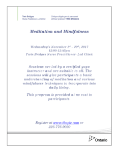 Meditation & Mindfulness - FULL @ Twin Bridges NPLC | Sarnia | Ontario | Canada