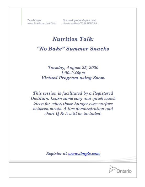 """Nutrition Talk: """"NO Bake"""" Summer Snacks"""