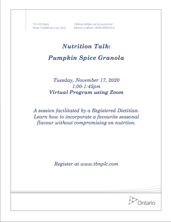 Nutrition Talk: Pumpkin Spice Granola