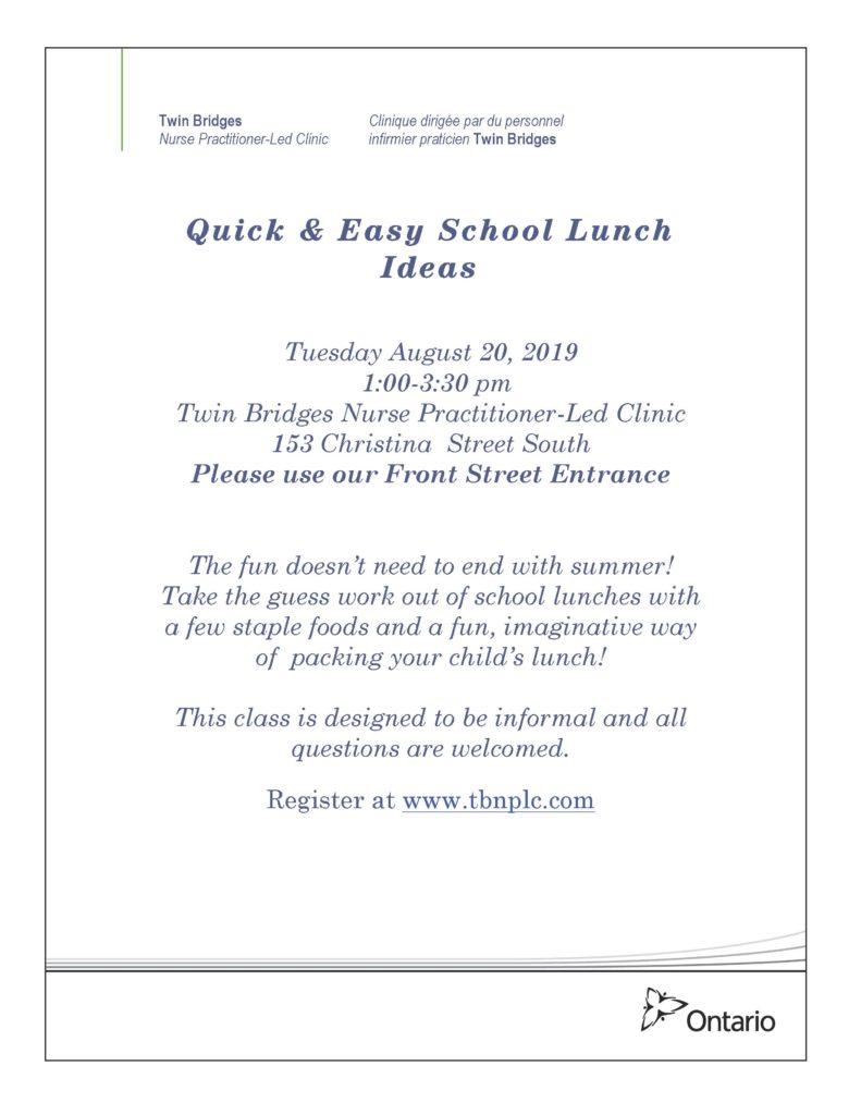 Quick & Easy School Lunch Ideas @ Twin Bridges NPLC