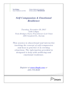 Self Compassion & Resilience @ Twin Bridges Nurse Practitioner-Led Clinic | Sarnia | Ontario | Canada