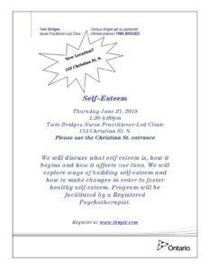 Self-Esteem @ Twin Bridges Nurse Practitioner-Led Clinic | Sarnia | Ontario | Canada