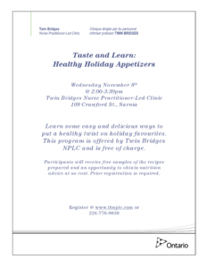 Taste & Learn: Healthy Holiday Appetizers @ Twin Bridges NPLC | Sarnia | Ontario | Canada